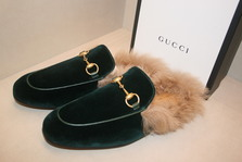 GUCCI  Princetown fur-lined velvet loafers